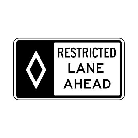 Vector restricted lane ahead icon