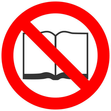 Forbidden sign with open book icon isolated on white background. Reading is prohibited vector illustration. Reading is not allowed image. Books are banned.