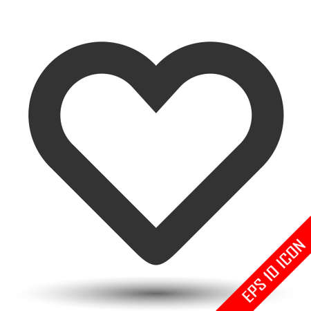 Heart icon. Simple flat of heart on white background. Vector illustration.