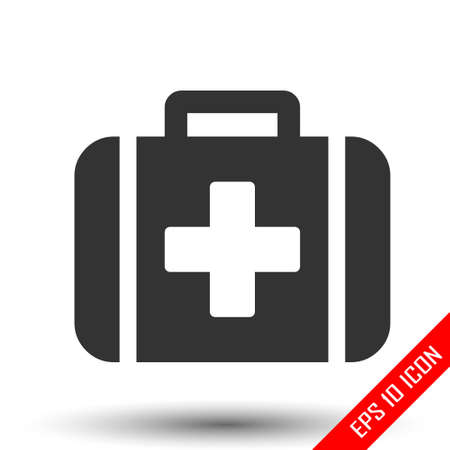 Medical kit icon. First aid sign. Flat icon of medical kit isolated on white background. Vector illustration.