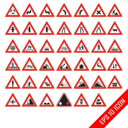 Warning road signs. Set of triangular warning symbols. Traffic-Road Sign Collection. Traffic signs. Detailed and fully editable icons. Stock Illustratie