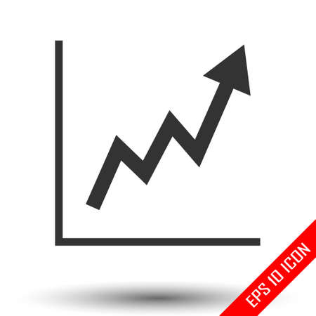 Graph icon. Statistic growing graph sign. Flat icon of chart isolated on white background. Vector illustration.