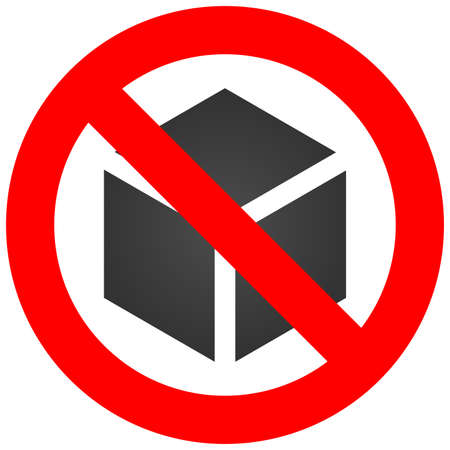 Forbidden sign with cube icon isolated on white background. Using cube is prohibited vector illustration. Box is not allowed image. Cubes are banned. Stock Illustratie