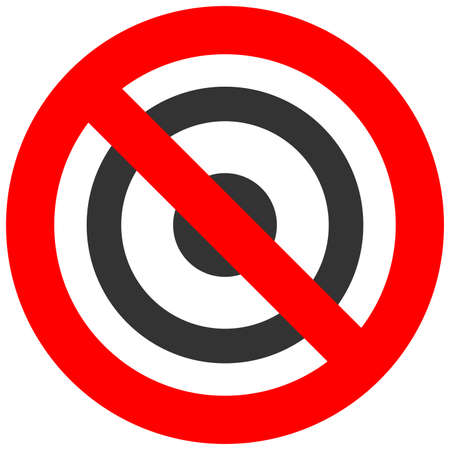Forbidden sign with target icon isolated on white background. Target is prohibited vector illustration. Target is not allowed image. Targets are banned.