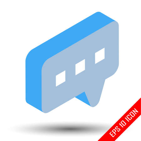 Isometric chat icon. Active chat sign. Simple flat of chat on white background. Flat isometric design, vector illustration. Stock Illustratie