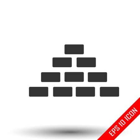 Bricks icon. Simple flat of bricks on white background. Vector illustration.