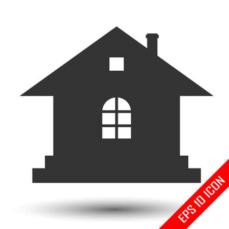 Shape of the one-stored house. Flat of house. Home vector picture. Archivio Fotografico - 118089481