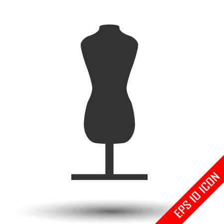 Fashion stand, female torso mannequin icon. Tailor mannequin. Dummy mannequin. Simple flat of mannequin isolated on white background. Vector illustration. Stock Illustratie
