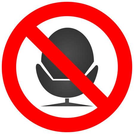 Signe d'interdiction avec l'icône de chaise isolé sur fond blanc. Allongé sur la chaîne est une illustration vectorielle interdite. La chaise n'est pas autorisée image. Les chaises sont interdites.
