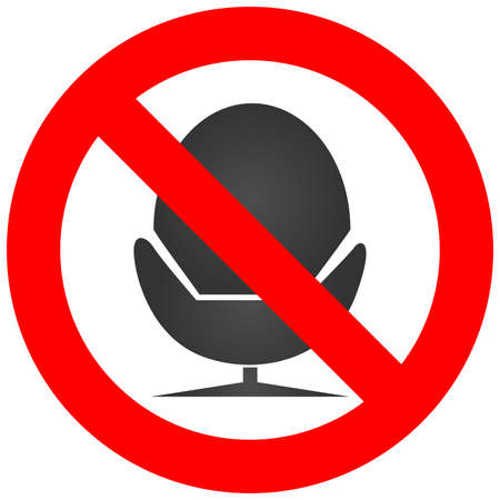 Prohibition sign with chair icon isolated on white background. Lying on chain is forbidden vector illustration. Chair is not allowed image. Chairs are banned. Illustration