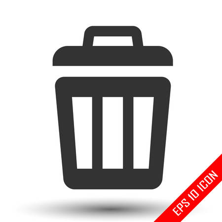 Trash icon. Trash basket sign. Simple flat of trash on white background. Vector illustration. Stock Illustratie