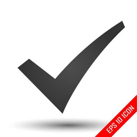 Check mark icon. Ok sign. Simple flat of checkmark symbol on white background. Vector illustration. Stock Illustratie