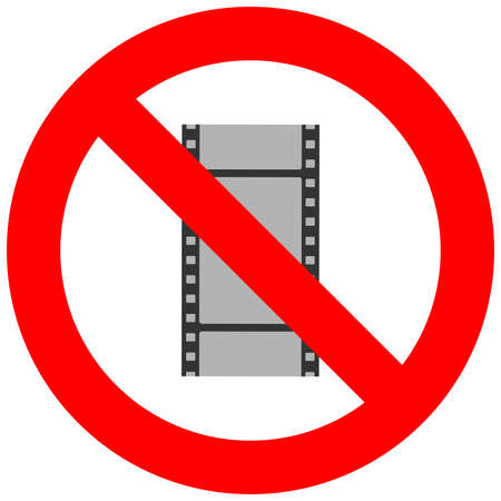 Prohibition sign with film frame abstract icon isolated on white background. Watching movie is forbidden vector illustration. Film not allowed image. Movies and films are banned.