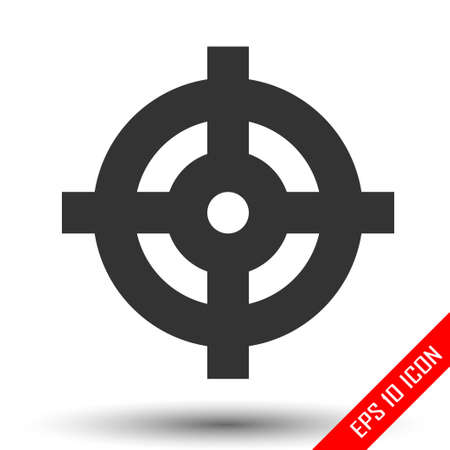 Target icon. Simple flat of target on white background. Vector illustration. Stock Illustratie