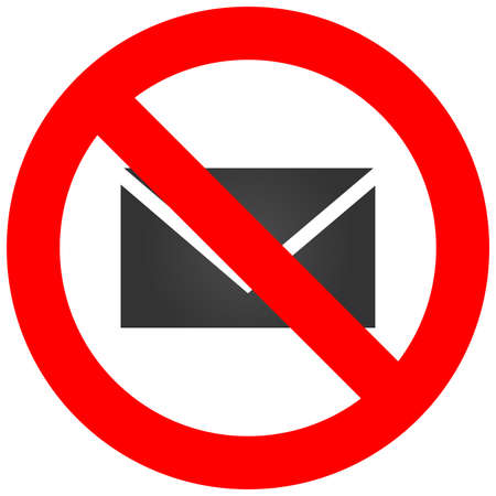 Forbidden sign with envelope icon isolated on white background. Envelope is prohibited vector illustration. Mail is not allowed image. Envelops are banned.