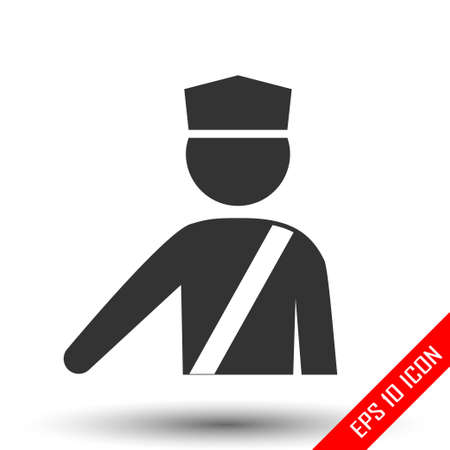 Policeman icon. Officer sign. Simple flat of policeman on white background. Vector illustration. Stock Illustratie