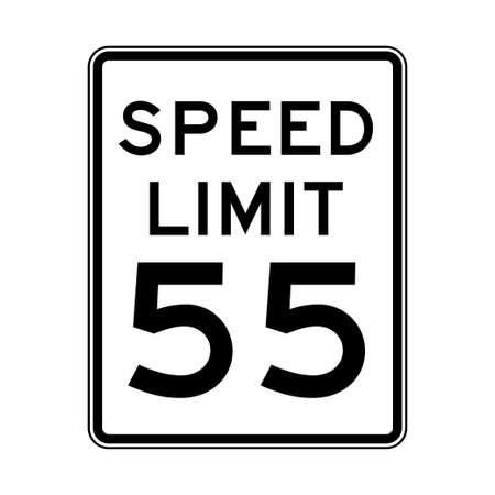 La limite de vitesse 55 feu de circulation sur fond blanc