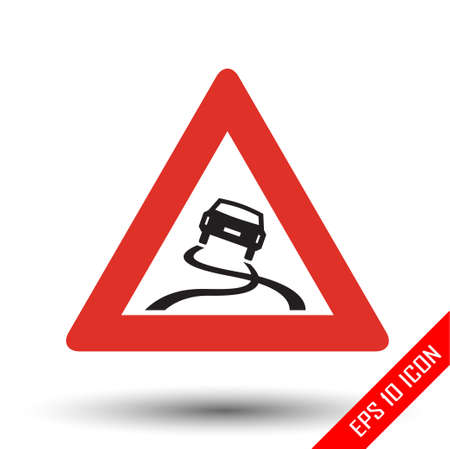 Slippery road traffic sign. Vector illustration of triangular sign for slippery road sign isolated on white background. Stok Fotoğraf - 110885867