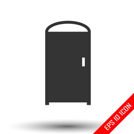 Door icon. Simple flat of closed door on white background. Vector illustration. Stock Illustratie