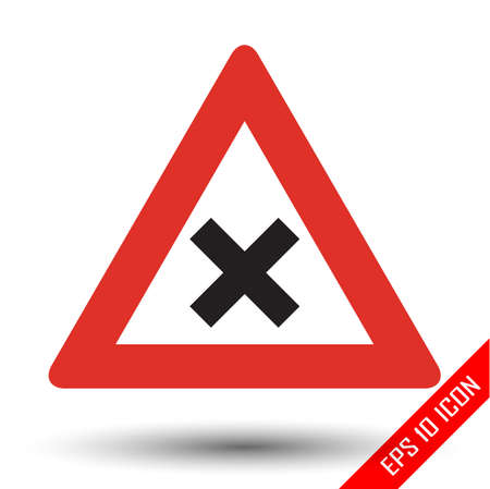 Intersection icon. Intersection warning road sign. Vector illustration of triangular sign for dangerous intersection traffic sign isolated on white background. Stock Illustratie