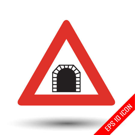 Tunnel traffic sign. Vector illustration of triangular sign for tunnel road sign isolated on white background. Stock Illustratie