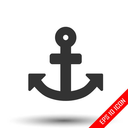 Anchor icon. Simple flat of anchor isolated on white background. Vector illustration.