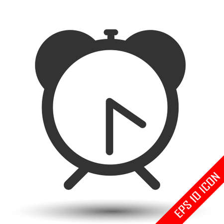 Alarm clock icon. Flat of alarm clock on white background. Vector illustration.