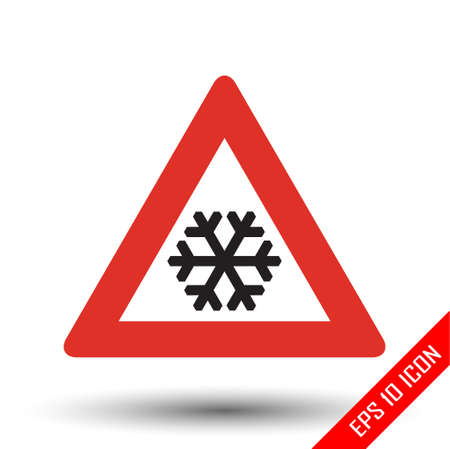 Snow ahead traffic sign. Vector illustration of triangular sign for snow ahead road sign isolated on white background.
