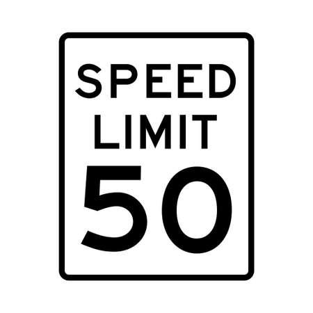 Speed limit 50 traffic light on white background Illustration