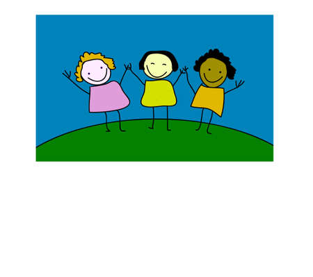 three happy girls Vector