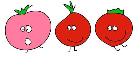 Dibujo gracioso de tomates animados  Foto de archivo - 7641727