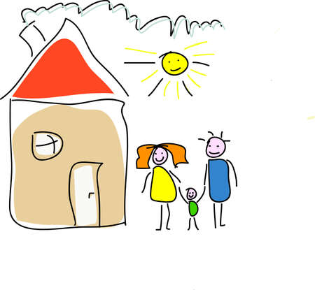 warm home: Childs drawing of a happy family house