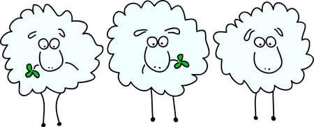zwart schaap: drie geanimeerde schapen kauwen op het klaver blad  Stock Illustratie