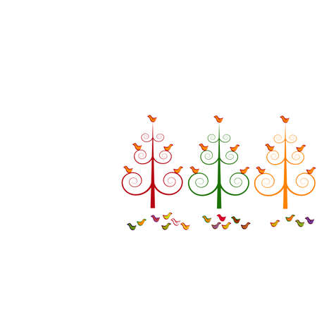 Three stylized christmas trees and birds Vector