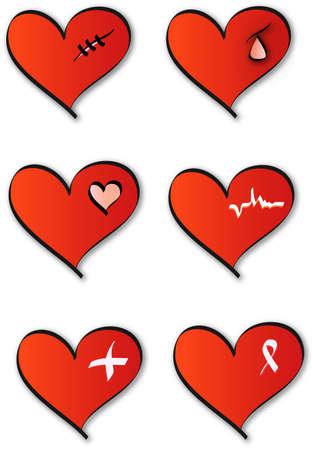 Medical hearts logos Vector