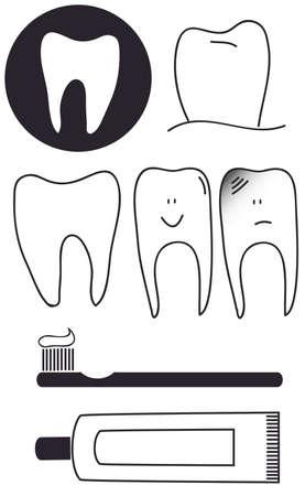 dientes con caries: Conjunto dental de pasta de cepillo de dientes  Vectores