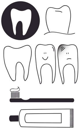 Dental set of teeth toothbrush paste  Vector