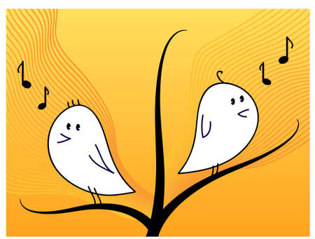 Cute birds singing on a tree branch Vector