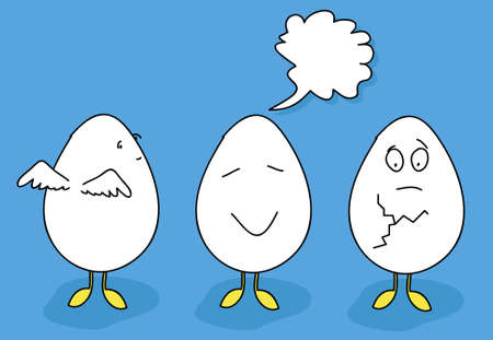 Eggs easter animated with emotions Vector