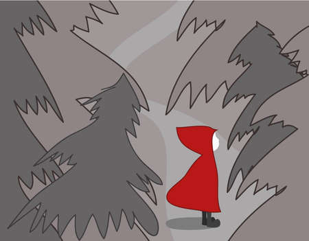 Girl in red riding hood lost in forest Vector