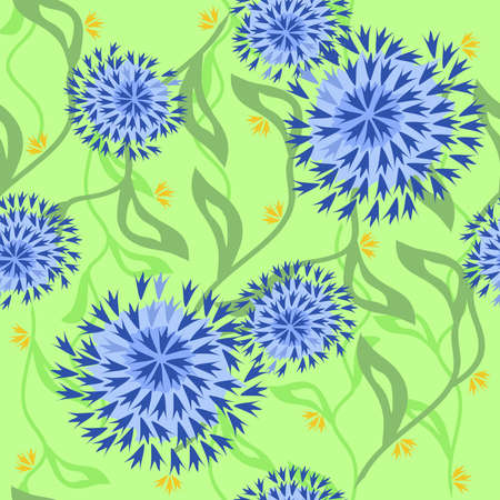 corn flower: Floral pattern with exotic flowers and vines Illustration