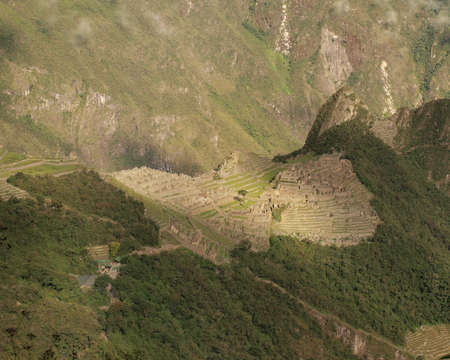 Inca city Machu Picchu panorama from above photo