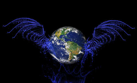 the earth flying with water wings photo