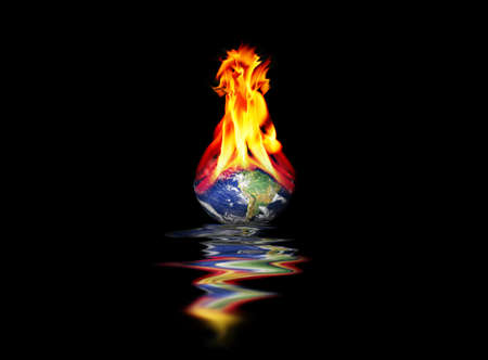 Planet Earth burning in fire Stock Photo - 4452788