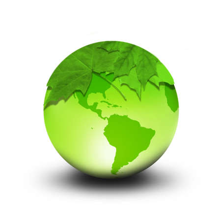 Eco Concept with Leafs on the Earth Globe photo