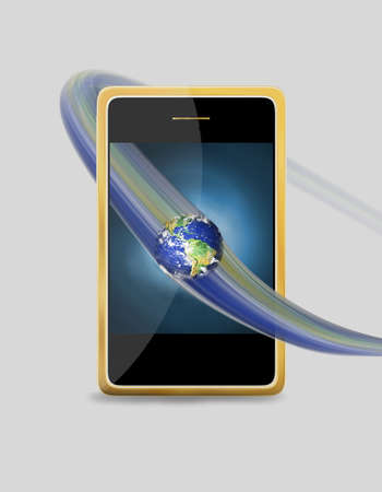 mobile phone with globe  photo