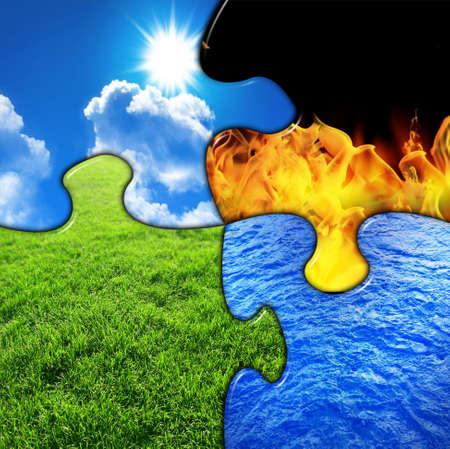 cuatro elementos: Cuatro elementos en un rompecabezas