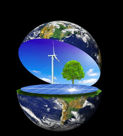 energia solar: tierra limpia  Foto de archivo