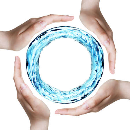 water power: hands protecting a ring of water