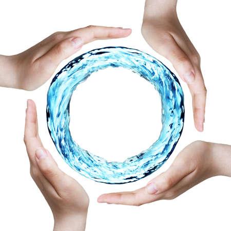conservacion del agua: manos proteger un anillo de agua